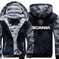 Autumn Winter Men Thicken Hoodies SCANIA Camouflage sleeve Male Sweatshirts Warm Coats Zipper Jackets Streetweart Casual Tops