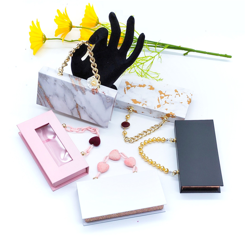 Print Lash Boxes Wholesale Eyelash Packaging Newest with chain Empty Lash Case with Clear Tray 25mm Mink Lash Boxes Packaging