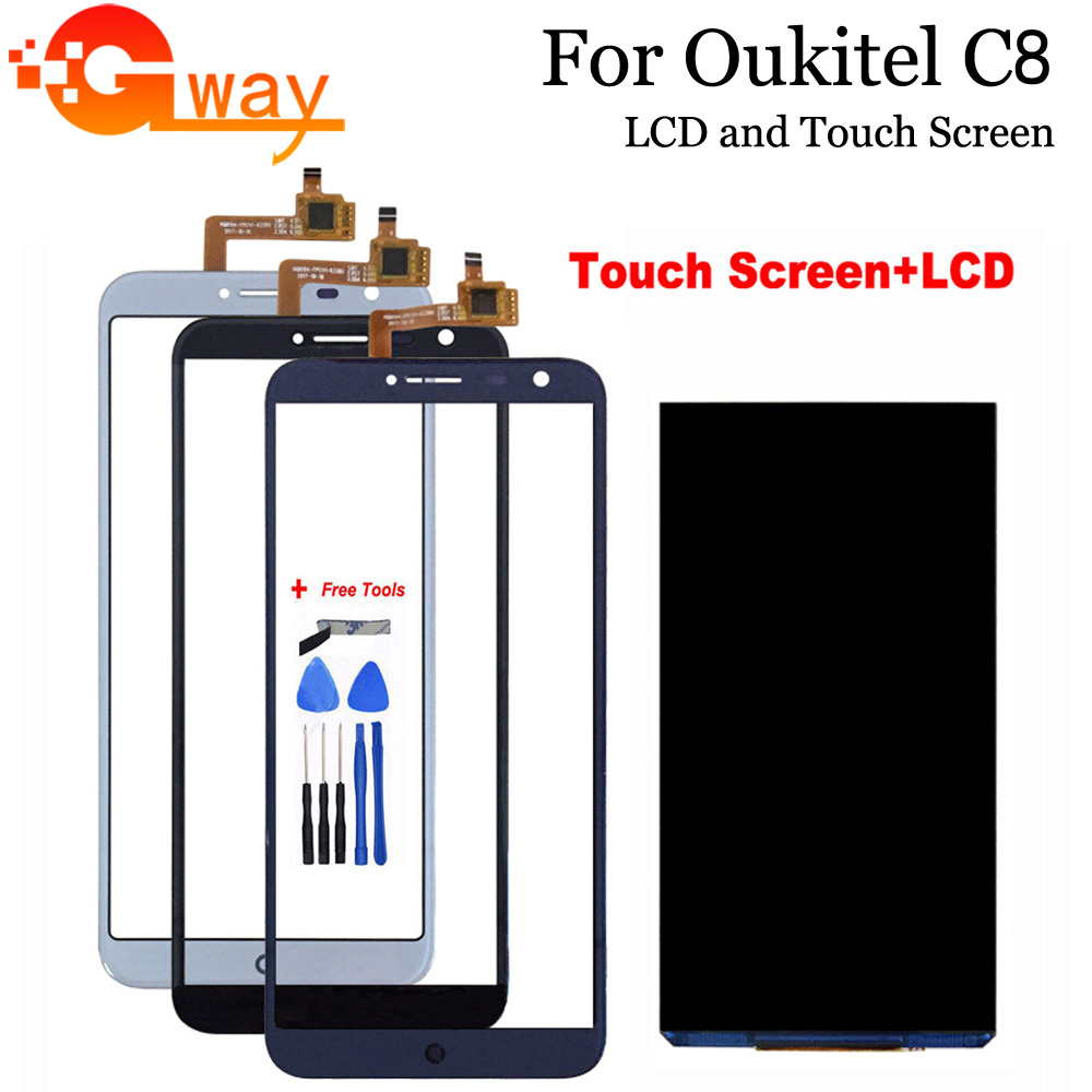 5.5 Inch For Oukitel C8 LCD Display+Touch Screen 100% Tested LCD+Digitizer Glass Panel Replacement For Oukitel C8