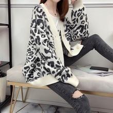 Best Selling Women's Sweater Knit Leopard Print Long Sleeve Deep V-neck Cardigan Top Single-breasted Loose Long-Sleeve Sweater недорго, оригинальная цена