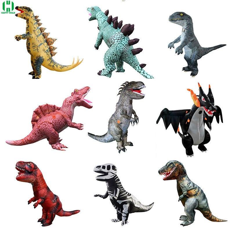 15Styles Big Size Jurassic Wild Life Dinosaur Velociraptor Costume Inflatable Set Cosplay Dinosaur World Park Dinosaur Animal