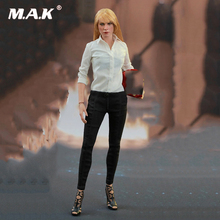 1/6 Scale Pepper Potts White mid-sleeve shirt with black tights Balck Leggings Pants Toy Collection