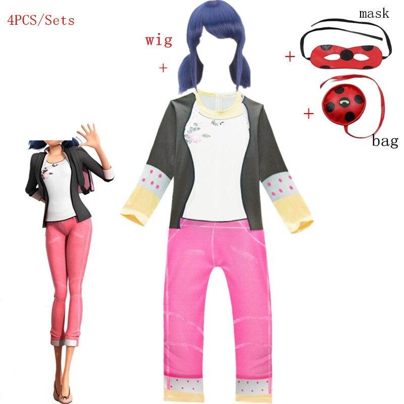 Carnival Girls Ladybug Jumpsuits Costume Clothing Kids Ladybug Costumes Lady Bug Marinette Suit For Halloween Cosplay Clothing
