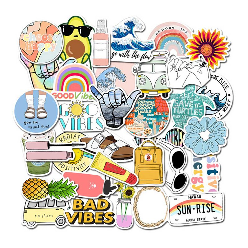 35Pcs Cartoon Small Fresh Stickers DIY Guitar Waterproof Decal Laptop Motorcycle Luggage Snowboard Car Sticker