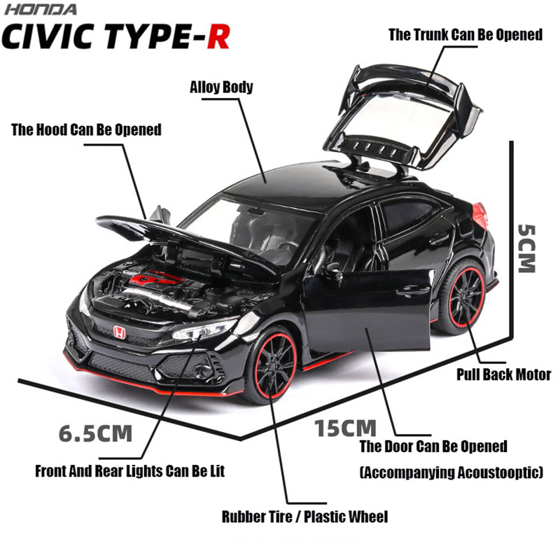 Honda Civic Type R 1//32 Scale Model Car Diecast Toy Vehicle Gift Collection Gray