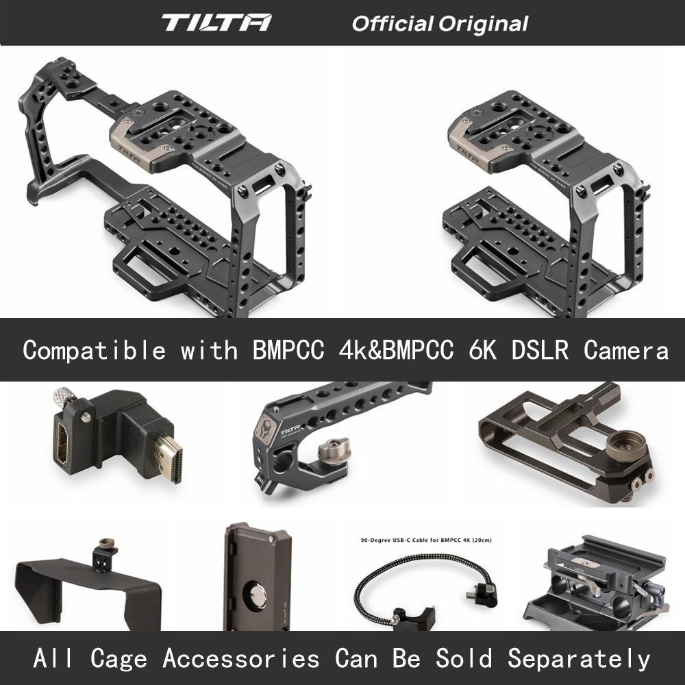Tilta TA-T01-A-G Full Camera Cage All Set Accessories For BMPCC 4K/6K Camera Top Handle Wooden Side Handle F970 Battery