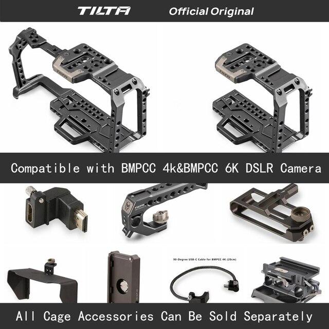 Tilta TA T01 A G كامل هيكل قفصي الشكل للكاميرا كل مجموعة اكسسوارات ل BMPCC 4K/6K كاميرا أعلى مقبض خشبي مقبض جانبي F970 البطارية