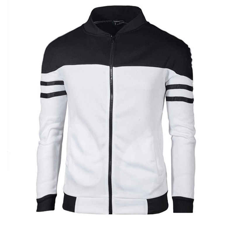 2019 neueste Mode Herbst Winter Männer Warme Schlank Zipper Jacke Sweatshirts Mantel Outwear Patchwork Casual Langarm Täglichen Tops