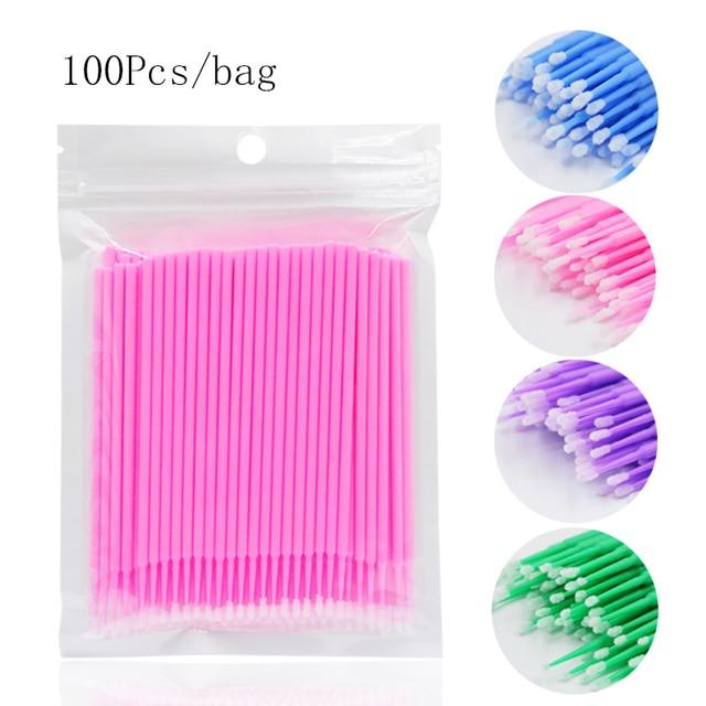 100pcs/lot Durable Micro Disposable Eyelash Extension Individual Applicators Mascara Brush Eyelash Glue Cleaning Tool