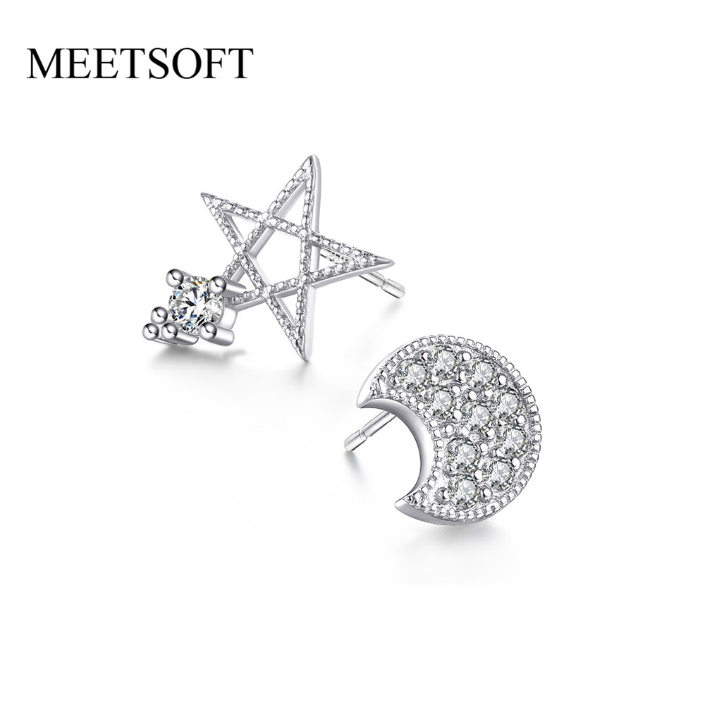 MEETSOFT Silver PlatedPrevent Allergy Fashion Stud Earrings for Women Design Trendy Hollow Out Star Zircon White Jewelry Gift