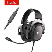 HAVIT 유선 헤드셋 게이머 PC 3.5mm PS4 헤드셋 서라운드 사운드 및 HD 마이크 게임 오버 이어 노트북 태블릿 게이머