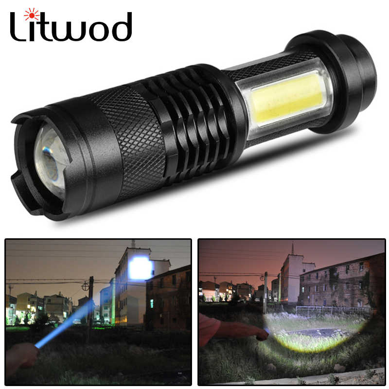 XP-G Q5 Mini penlight Waterproof LED Flashlight Torch 3 chế độ điều chỉnh Zoomable Focus Lantern xách tay White & UV Light Bulbs