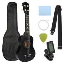 21 inch 12 Fret Soprano Ukulele Basswoood Beginner Ukelele Stringed Musical Instrument with Gig bag+Tuner+Strings+Pick+Strap