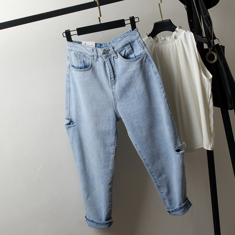 Large Size Dress With Holes Jeans 2019 New Style Fat Mm200 Jin Loose-Fit Slimming Capri Pants A Generation Of Fat
