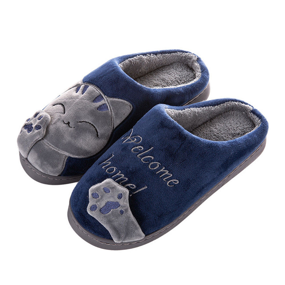 Cute Non-slip Winter Animal Men Slippers Home Female Comfort Floor Male Shoes Cotton Indoor Slippers Plush Slipper Size 40-45