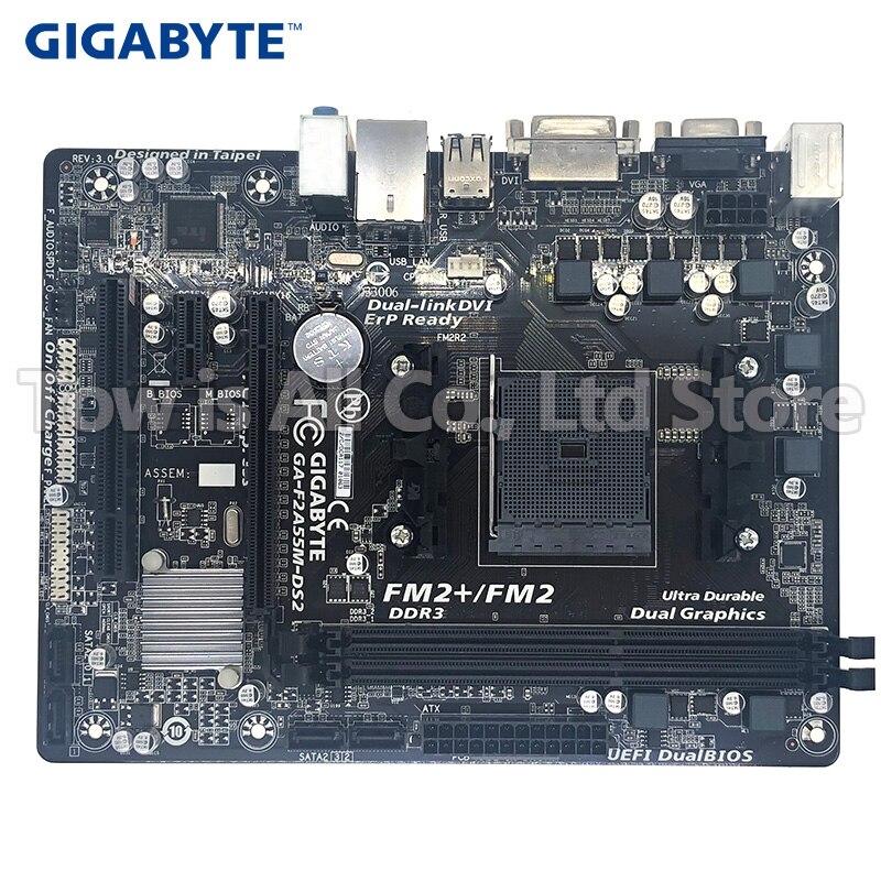 Gigabyte GA-F2A55M-DS2 DDR3 Socket FM2 Board F2A55M-DS2 USB2.0 A55 Desktop Motherborad Free Shipping