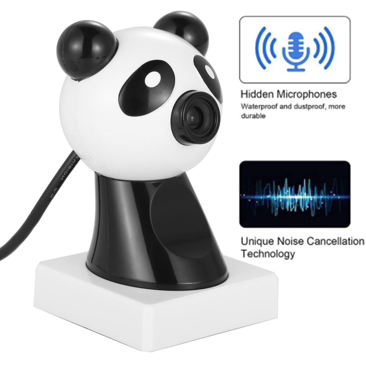 Design bonito da forma de panda 480 p hd webcam com alto-falante computador portátil usb câmera web embutido microfone de redução de ruído