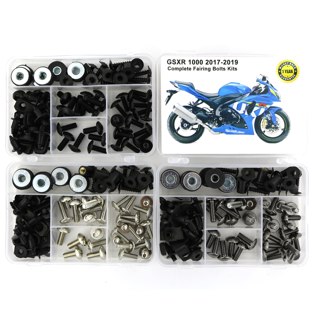 For Suzuki GSXR1000 GSXR 1000 2017 2018 2019 Complete Covering Full Fairing Bolts Kit Steel Clips Bodywork Screws Nuts OEM Style in Full Fairing Kits from Automobiles Motorcycles
