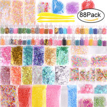 88Pcs Children's Slimes DIY Glass Filled Bead Nail Sequin Crystal Mud DIY Handmade Material Party Decoration(China)