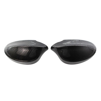 Left+Right Carbon Fiber Replace Side Mirror Cover Caps For BMW E90 05-07