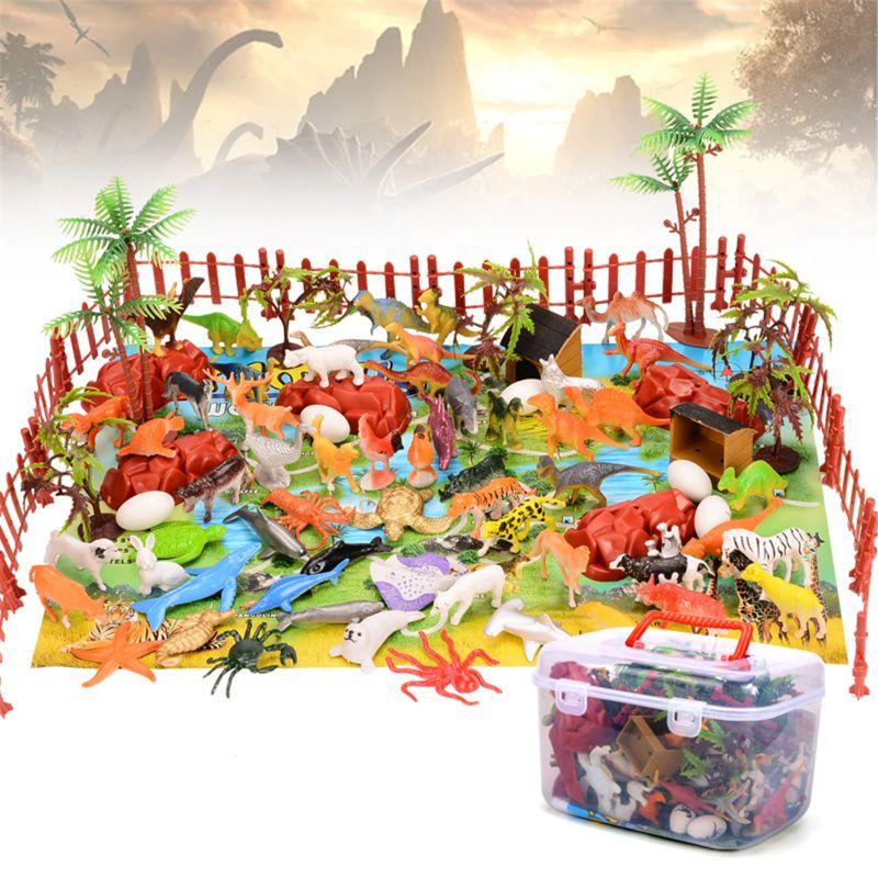 90 шт. динозавр игрушка фигурка игровые коврики и деревья динозавра Playset детский игровой коврик