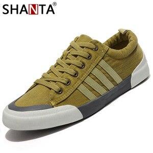 Image 3 - SHANTA גברים בד נעלי 2019 אופנה מוצק צבע גברים גופר נעלי שרוכים לבן נעליים יומיומיות גברים סניקרס