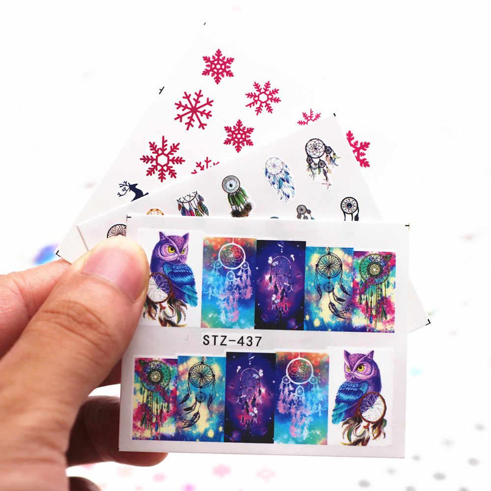 1 قطعة شعبية الأزرق الثلج مسمار صائق و ملصقا زهرة أوراق شجرة الأخضر بسيط الصيف المنزلق ل مانيكير مسمار الفن مائية