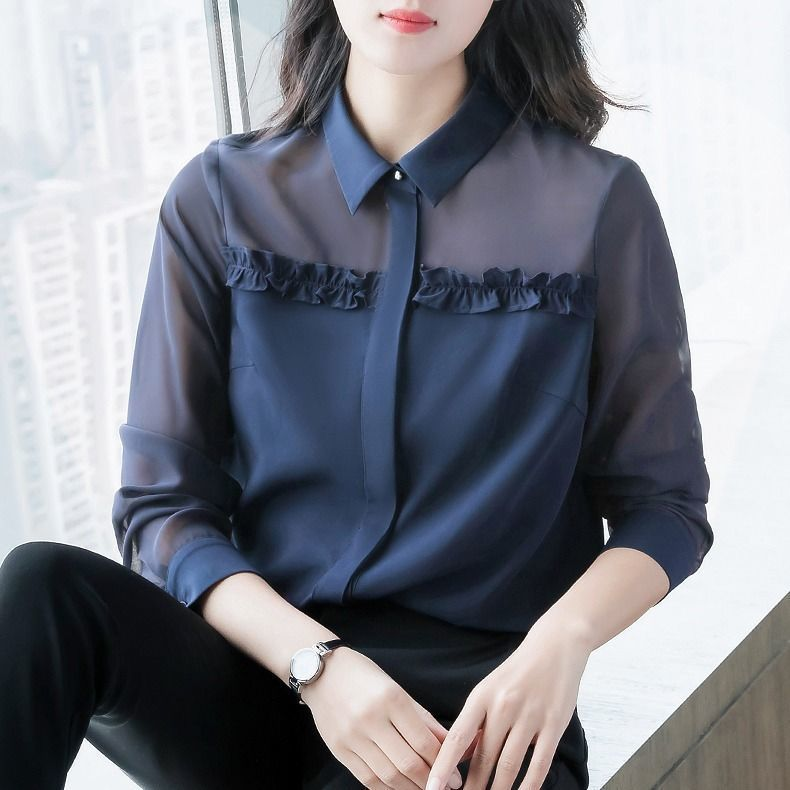Women's Spring Autumn Style Blouse Shirt Women's Button Turn-Down Collar Solid Color Long Sleeve Korean Elegant Tops SP1099 7