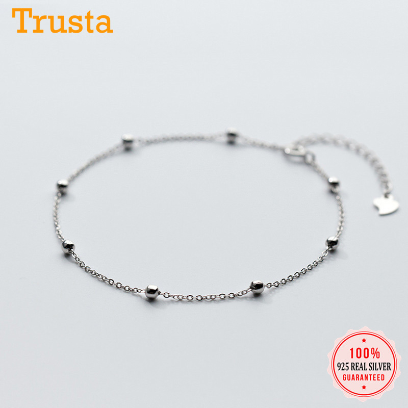 Trustdavis genuine 925 Sterling Silver Fashion Sweet Small Bell Anklets For Women Sivler 925 Jewelry Anklets Wholesale DS805