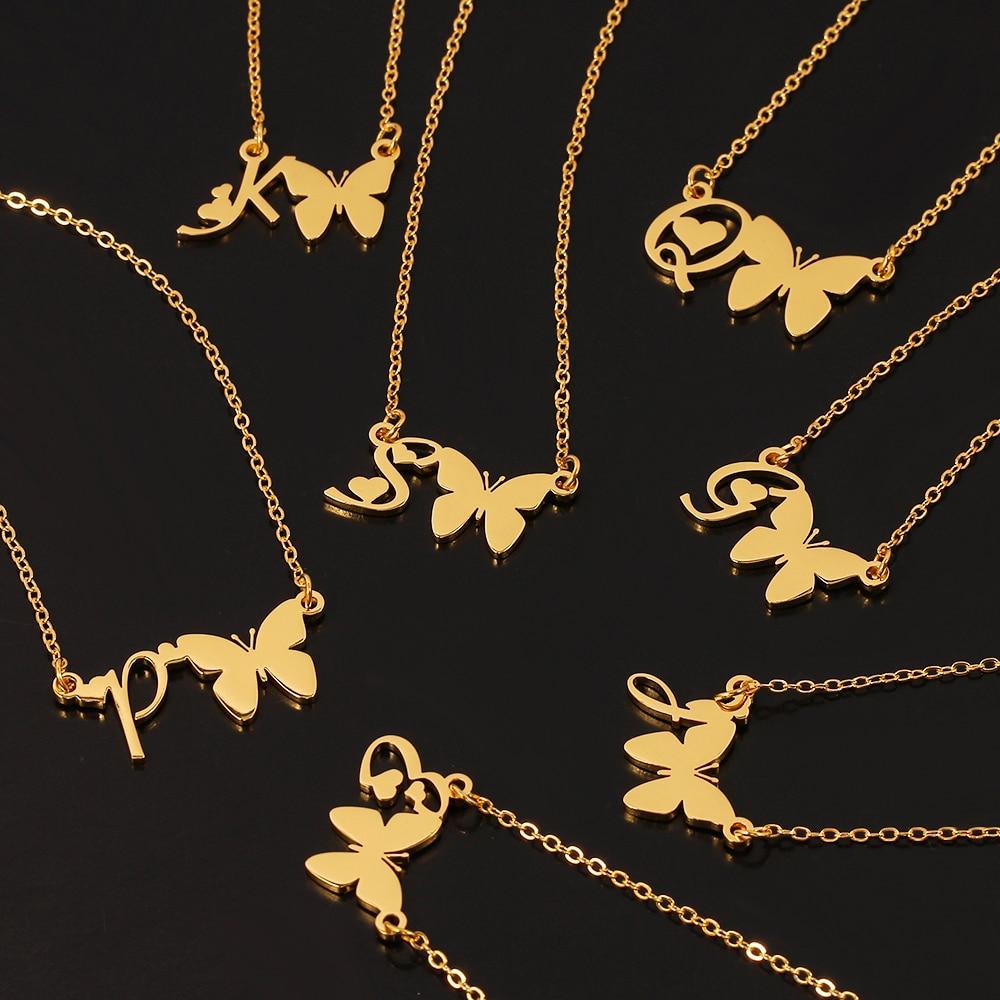 Персонализированное ожерелье-бабочка из нержавеющей стали A-Z ожерелье для женщин 2020 массивная цепочка для ключицы Алфавит Naszyjnik