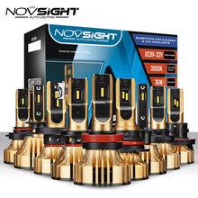 Novsight lâmpada automotiva, 72w, 9005 lm, led, h4, h7, h1, h3, h11, h13, hb3/, hb4/faróis de led 9006 k dourados amarelos 9007 hb5/3000