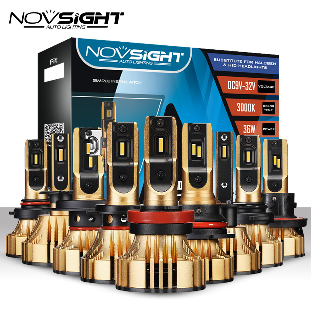 NOVSIGHT 72W 12000LM Car <font><b>Led</b></font> Headlight <font><b>Bulbs</b></font> <font><b>H4</b></font> <font><b>LED</b></font> H7 H1 H3 H11 H13 HB3/9005 HB4/9006 HB5/9007 <font><b>LED</b></font> Headlamps 3000K Gold <font><b>Yellow</b></font> image