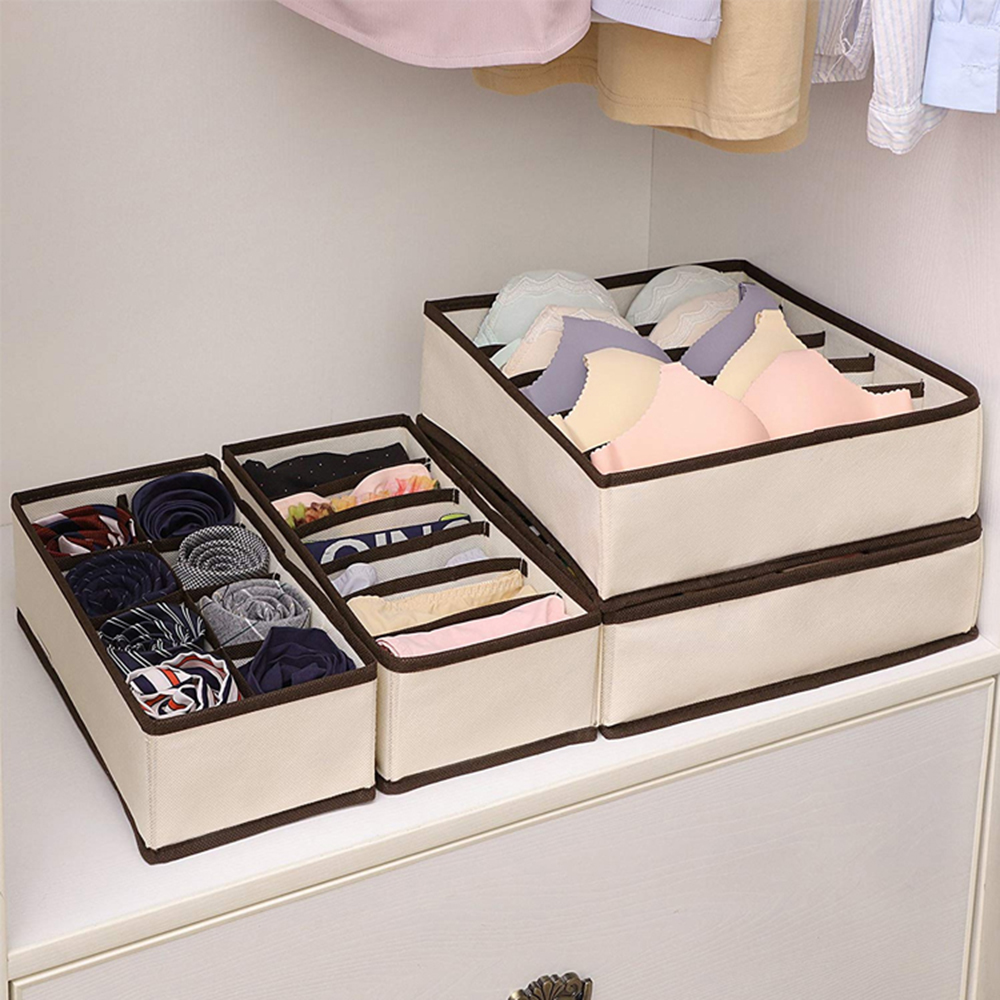 6/7/8/24 Grid Storage Boxes Multi-size Foldable Wardrobe Drawer Divider Lidded Closet Organizer Drawer For Underwear Socks Bra
