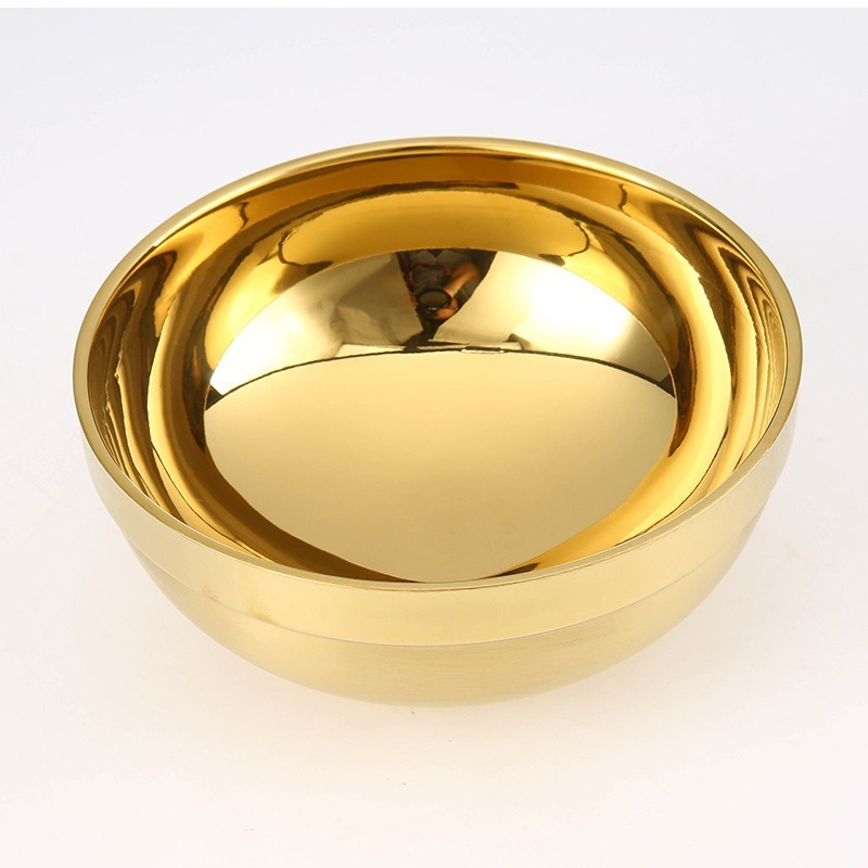 11/14cm Gold 304 Stainless Steel Bowl for ChildrenThick Double-layer Heat-prevention Bowl Ramen Ice Cream Fruit Soup Noodle Bowl