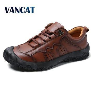Vancat nowy duży rozmiar 38-48 mężczyźni buty w stylu casual mokasyny wiosna jesień mokasyny męskie buty z prawdziwej skóry męskie płaskie buty męskie buty tanie i dobre opinie Skóra bydlęca Gumowe Wiosna jesień YH0210 Pasuje prawda na wymiar weź swój normalny rozmiar Oddychająca Masaż Lace-up