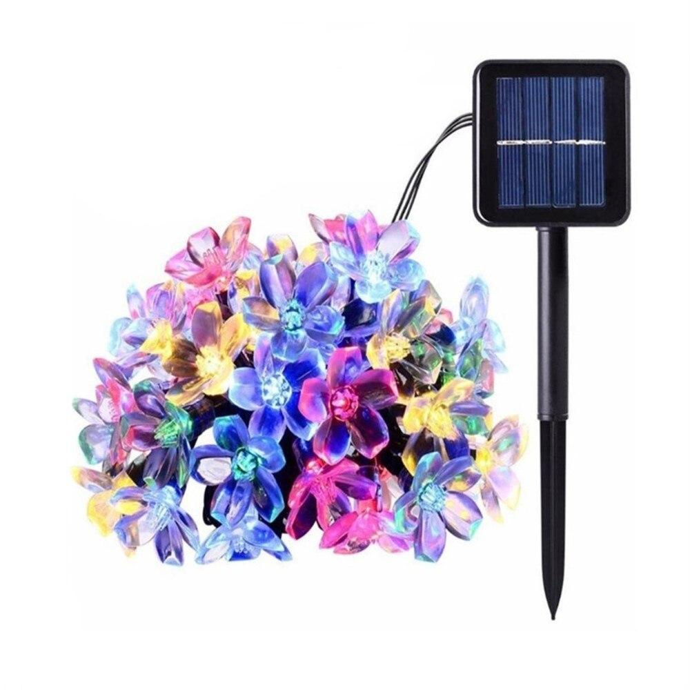 7M 50LED Solar String Lights LED Sakura Street Garland Lawn Lamp Waterproof IP65 Christmas New Year Outdoor Lighting Decor