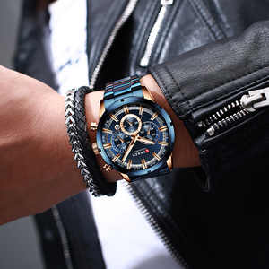 Image 5 - CURREN Relógio de pulso esportivo de luxo de quartzo para homens, a prova dágua, cronógrafo, todo de aço, masculino