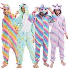 Nowy Kigurumi jednorożec piżamy dorosłych zima piżamy zwierząt Stitch Panda Licorne piżamy kobiety Onesie Anime kostiumy kombinezon tanie tanio sumioon Poliester Cartoon S M L XL Flanelowe Unisex Pasuje prawda na wymiar weź swój normalny rozmiar