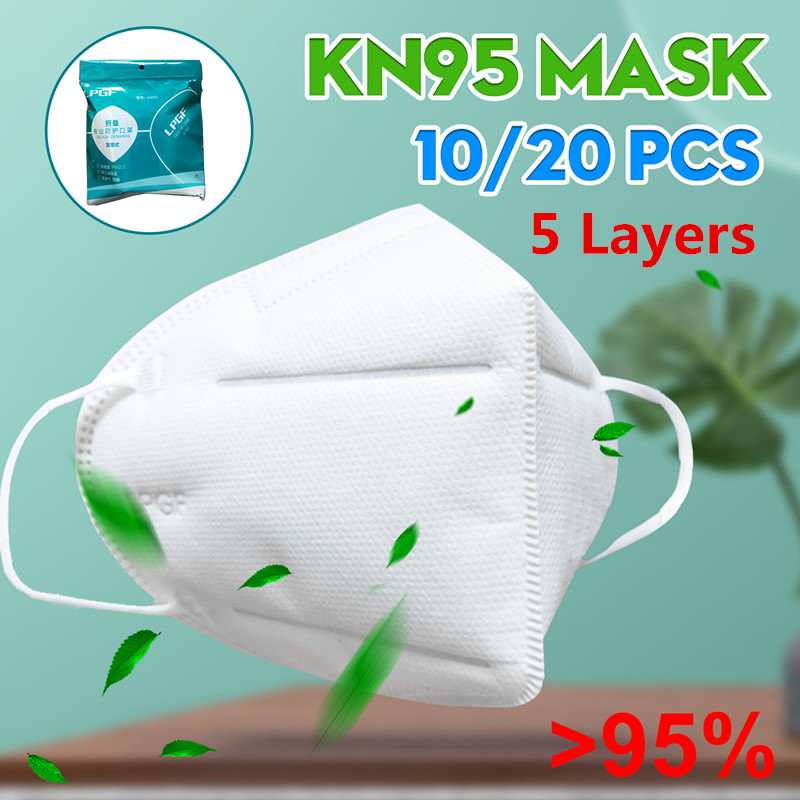 5 Layers Disposable Mask N95 Mouth Face Masks 95% Filtraion Cotton Filter Anti Dust Pm2.5 Bacteria Germ Protection