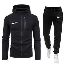 Yeni erkek ilkbahar ve sonbahar takım elbise fermuarlı kapüşonlu kıyafet ceket + pantolon iki parçalı gündelik spor giyim erkek spor spor giyim