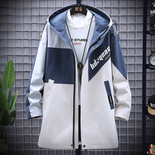 New Korean Men's Windbreaker Jackets Men Long Trench Coat Printed Cardigan Casual Hooded Coats Male 3 Color M-3XL