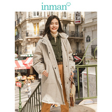 IMAN Winter Personality Solid Hooded Stand up Collar Pocket Warm Women Long Cotton Padded Jacket
