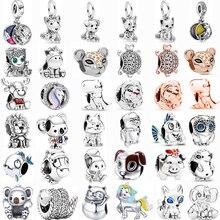 2021 silber Farbe Glückliche Katze Einhorn Eule Hund Elch Tier Serie Perlen Fit Original Pandora Charms Armband Für Frauen Schmuck geschenke