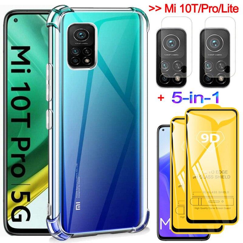 5-in-1 etui na telefon + szklo hartowane Mi 10T Pro case odporna na wstrząsy silikonowa etui Mi9 Xiaomi 9Lite Mi 9Se screen protector Mi10T Xiaomi 10T Pro etui Mi 9T Pro Xiaomi Mi 10 T Glass Case Mi 10T Lite etui