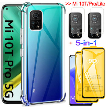 5-in-1 Phone Cases+Glass for Mi 10T Pro Case Mi9 9Lite 9Se Shockproof Silicone Cover Mi 9T Pro Xiaomi Mi 10 T Case Mi 10T Lite