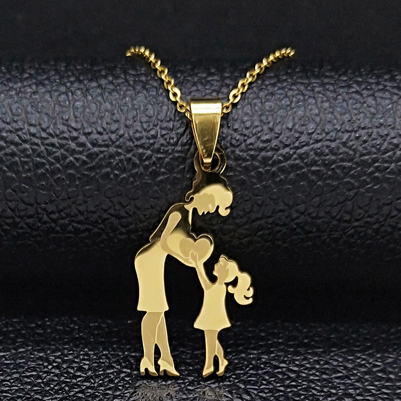 Mom Daughter Stainless Steel Chain Necklace Silver Color Necklaces Pendants Jewelry mujer Mother's Day Christmas Gift N539S01 19