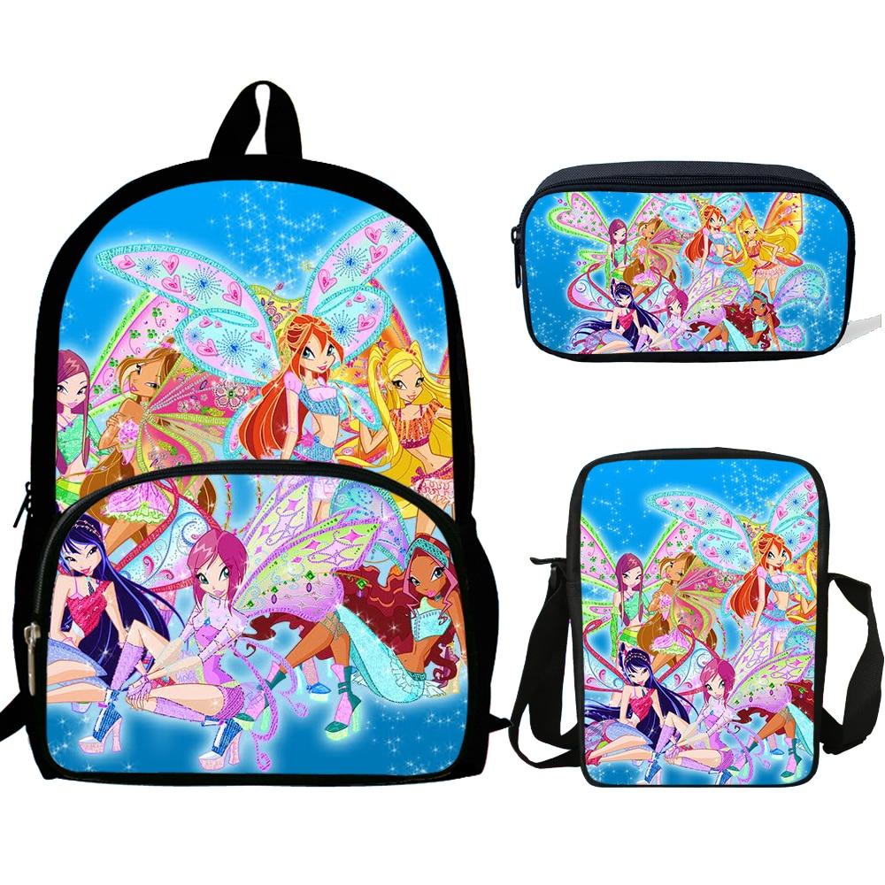 16inch Escolares Kids World Of Winx Mochila Backpack For Teenagers Bookbag  Child Alien Rucksack For Boys Girls Schoolbags Set