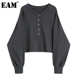 [EAM] Loose Fit Gray Brief Oversized Sweatshirt New Round Neck Long Sleeve Women Big Size Fashion Tide Spring Autumn 2021 1DC482