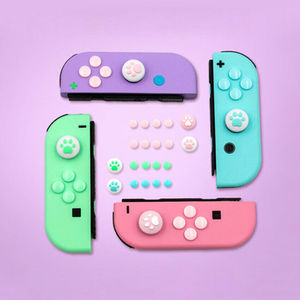 Image 2 - 1Set Silicone Cat Paw Thumb Grip Caps Cover & 8Pcs ABXY Directions Key Buttons Sticker for Nintendo Switch Joy Con Joystick