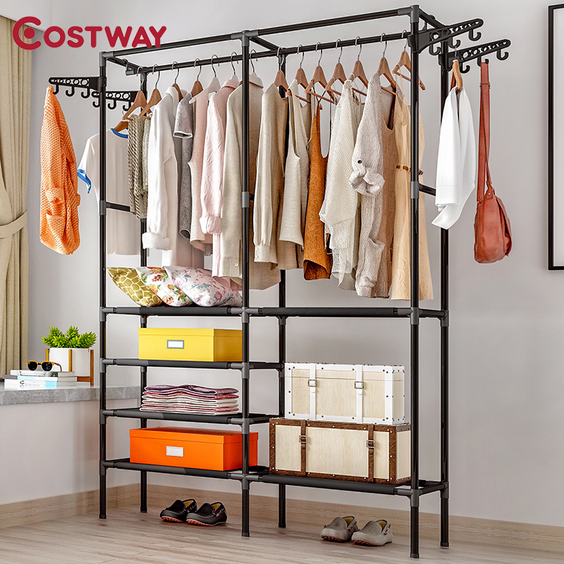 COSTWAY Hanger Coat-Rack Clothing Wardrobe Porte Drying-Racks Storage Manteau Kledingrek